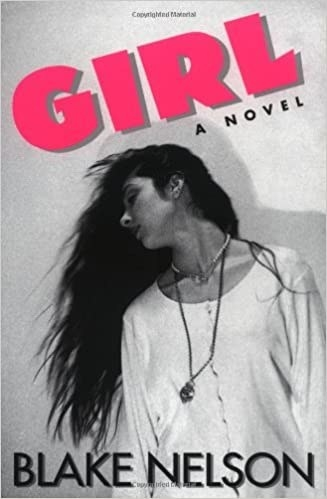 Black and white photo of a girl with bold pink title text at top of cover