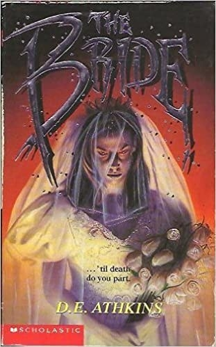 Illustration of a ghostly bride with red eyes and title text in morbid black font above