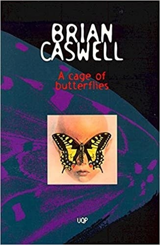 Book cover shows a purple detailed butterfly wing covering the entire page with a smaller box print of a bald headed person with a yellow butterfly over their eyes; title text in small red font with author title above in white font