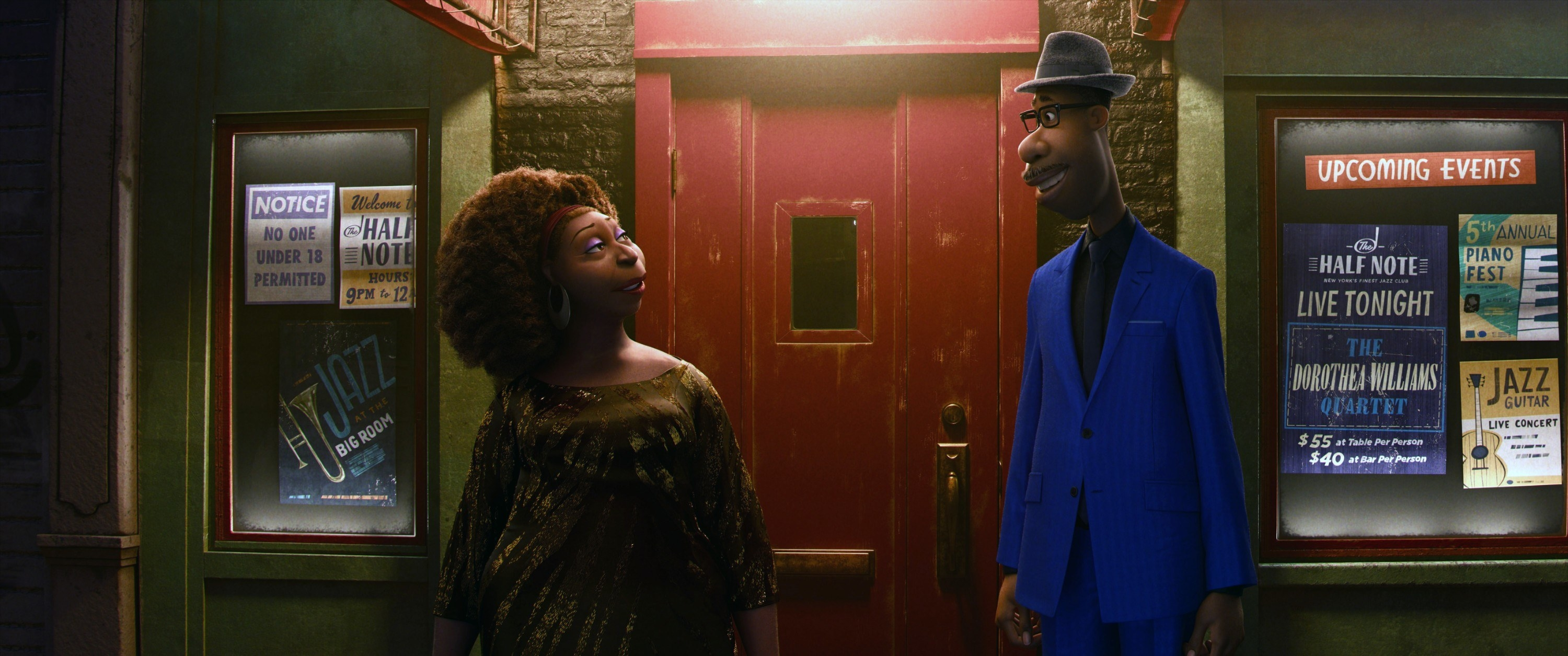 Dorothea Williams and Joe Gardner standing outside of a jazz club