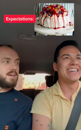 they are in the car and the pavlova is superimposed on them