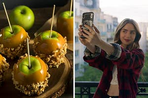 On the left, some caramel apples rolled in nuts, and on the right, Lily Collins taking a selfie as Emily in Emily in Paris
