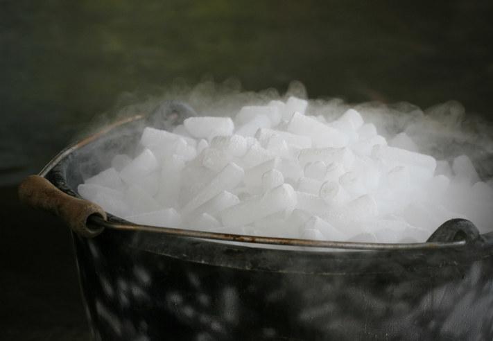 Pellets of dry ice in a bucket