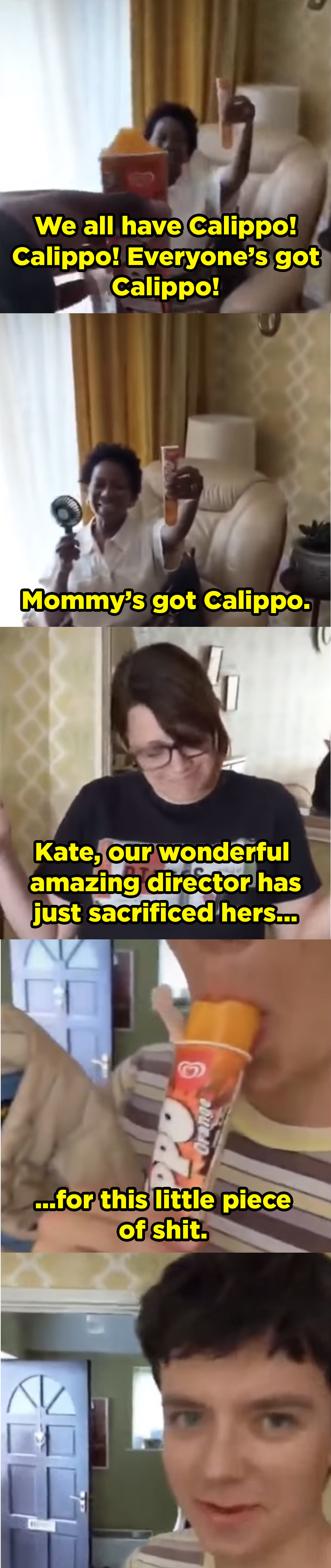 Ncuti showing off that he and his onscreen mom Doreene Blackstock have popsicles, then he says that their great director Kate Herron sacrificed hers for Asa.