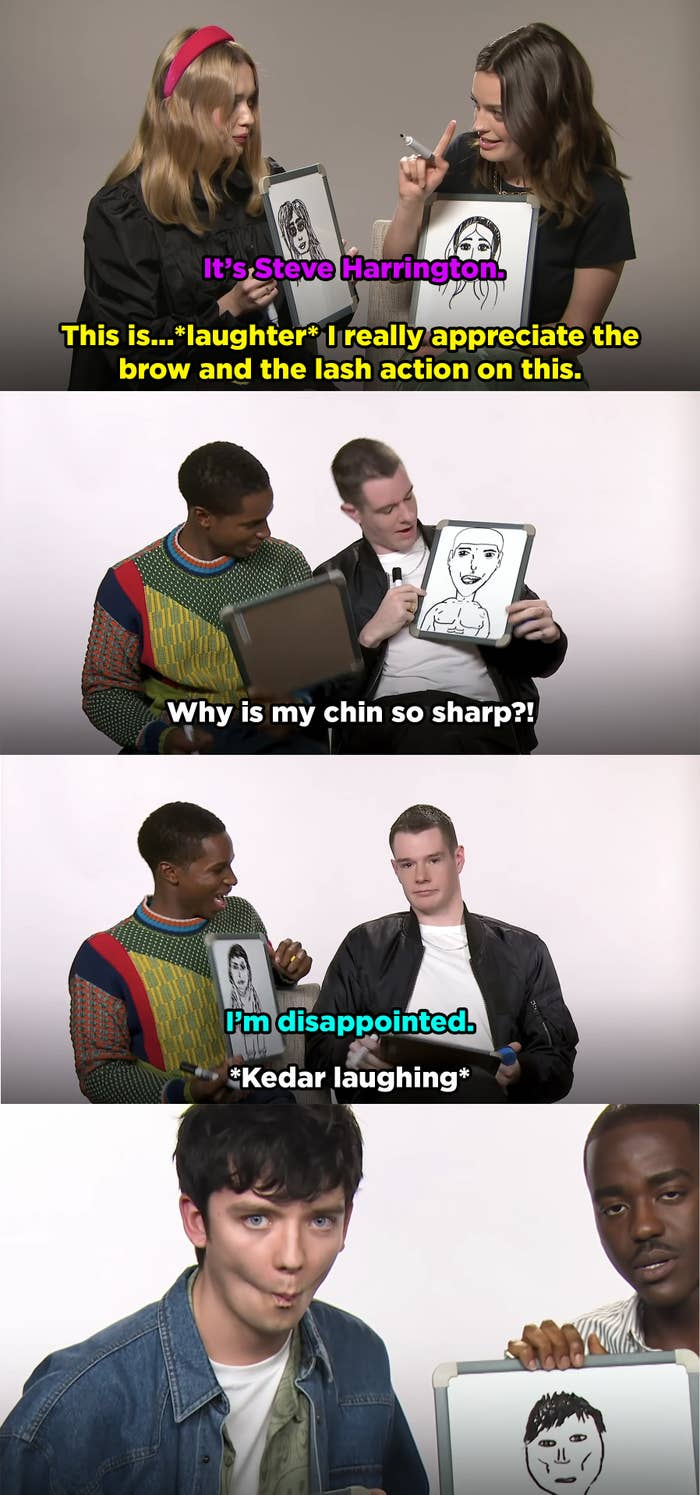 """Aimee shows Emma her portrait of her and says it looks like Steve from """"Stranger Things."""" Emma laughs and says she appreciates the eyebrow game. Kedar asks why Connor's picture has a pointy chin. Asa sucks in his cheeks to match Ncuti's picture of him."""