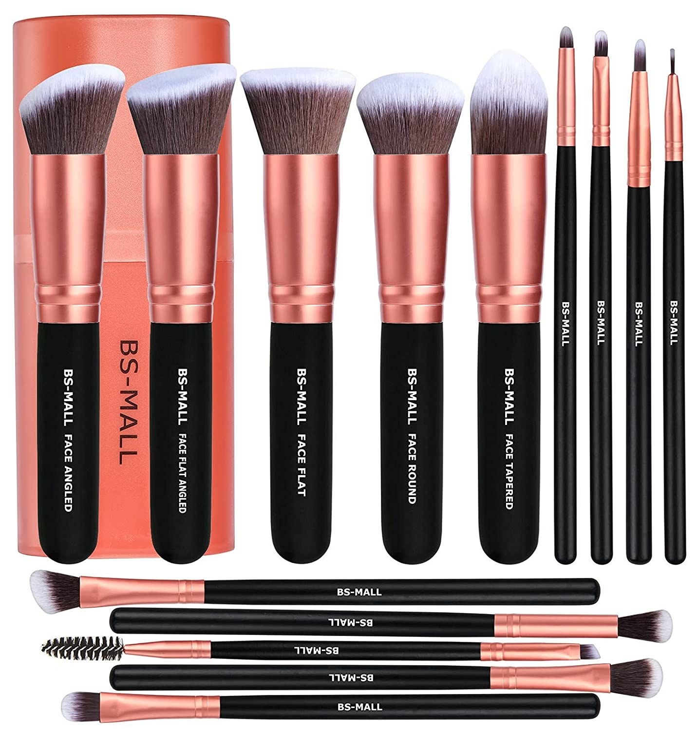 The rose gold and black set of brushes with a carrying case