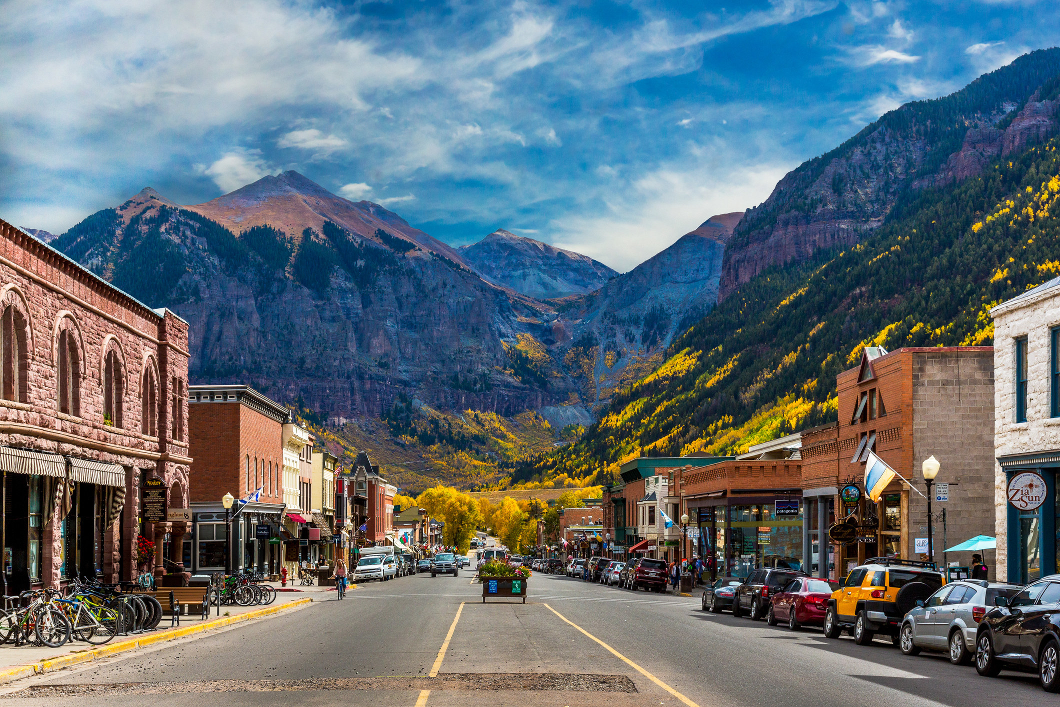 Downtown historic Telluride with mountains in the background
