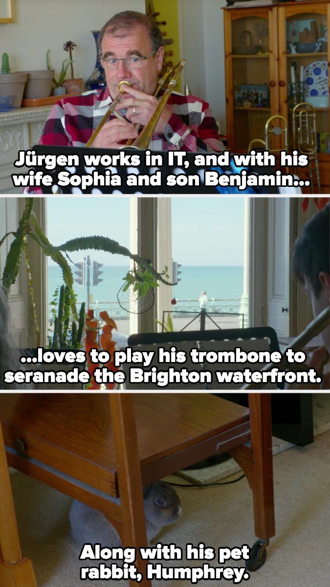 Jurgen likes to play trombone to the waterfront with his family, along with his pet rabbit, Humphrey