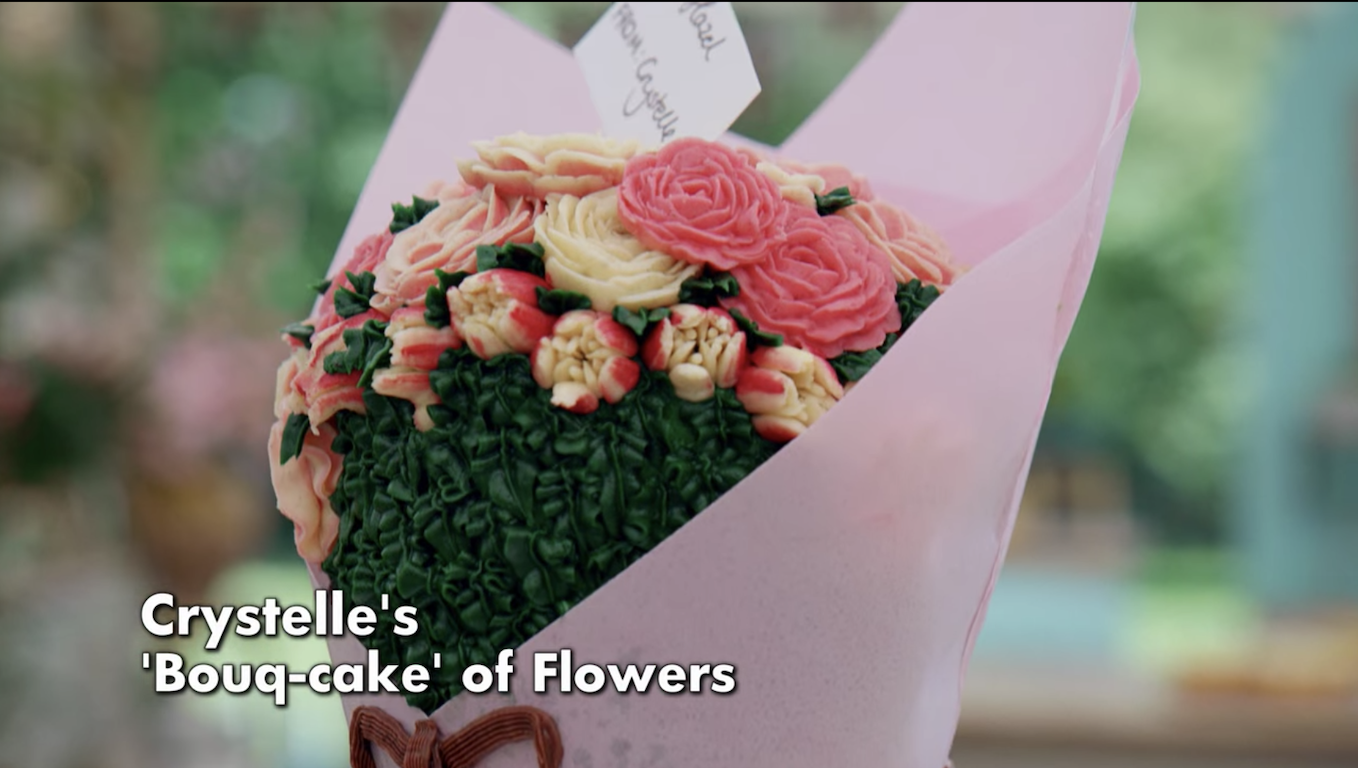 A cake that looks exactly like flowers