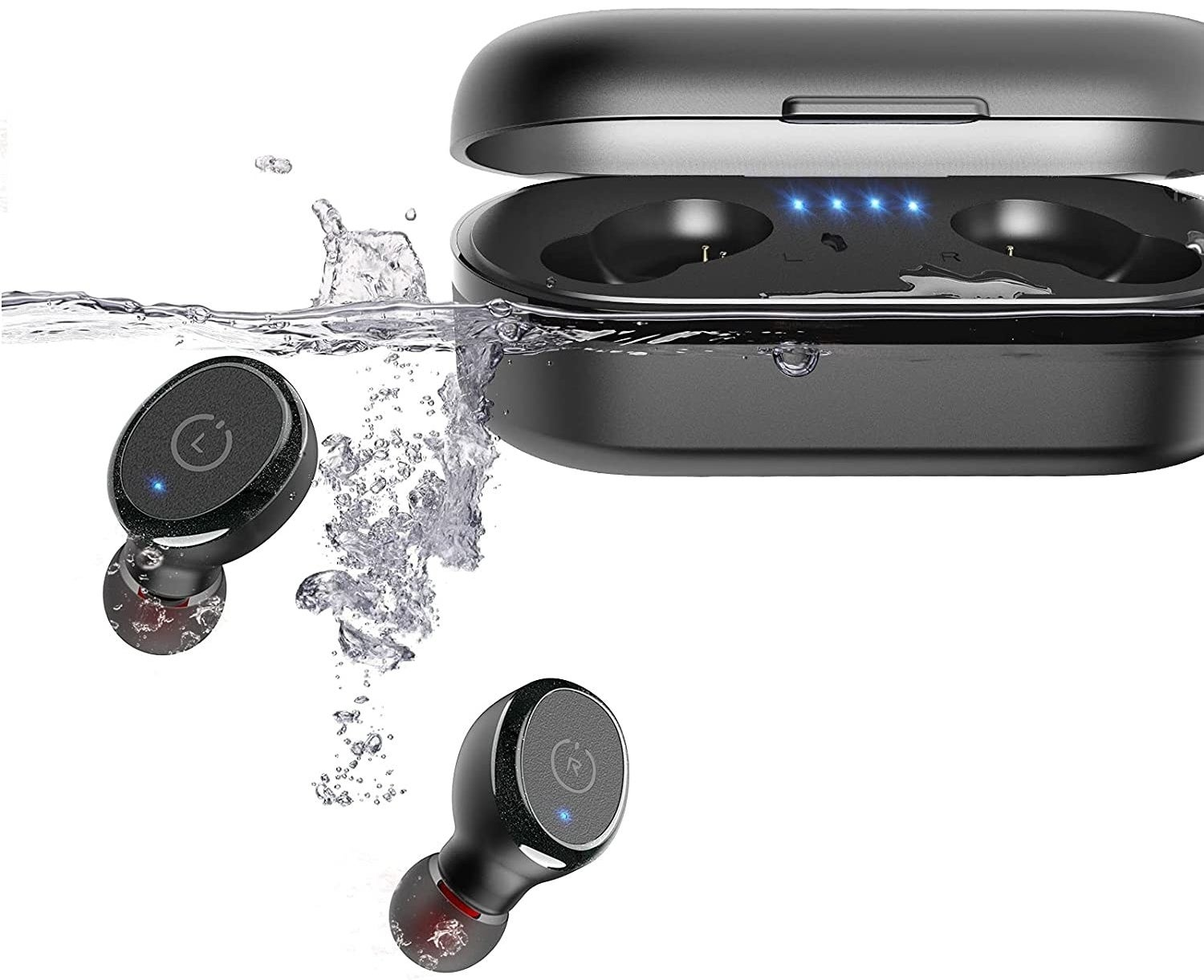 the earbuds and their case in water