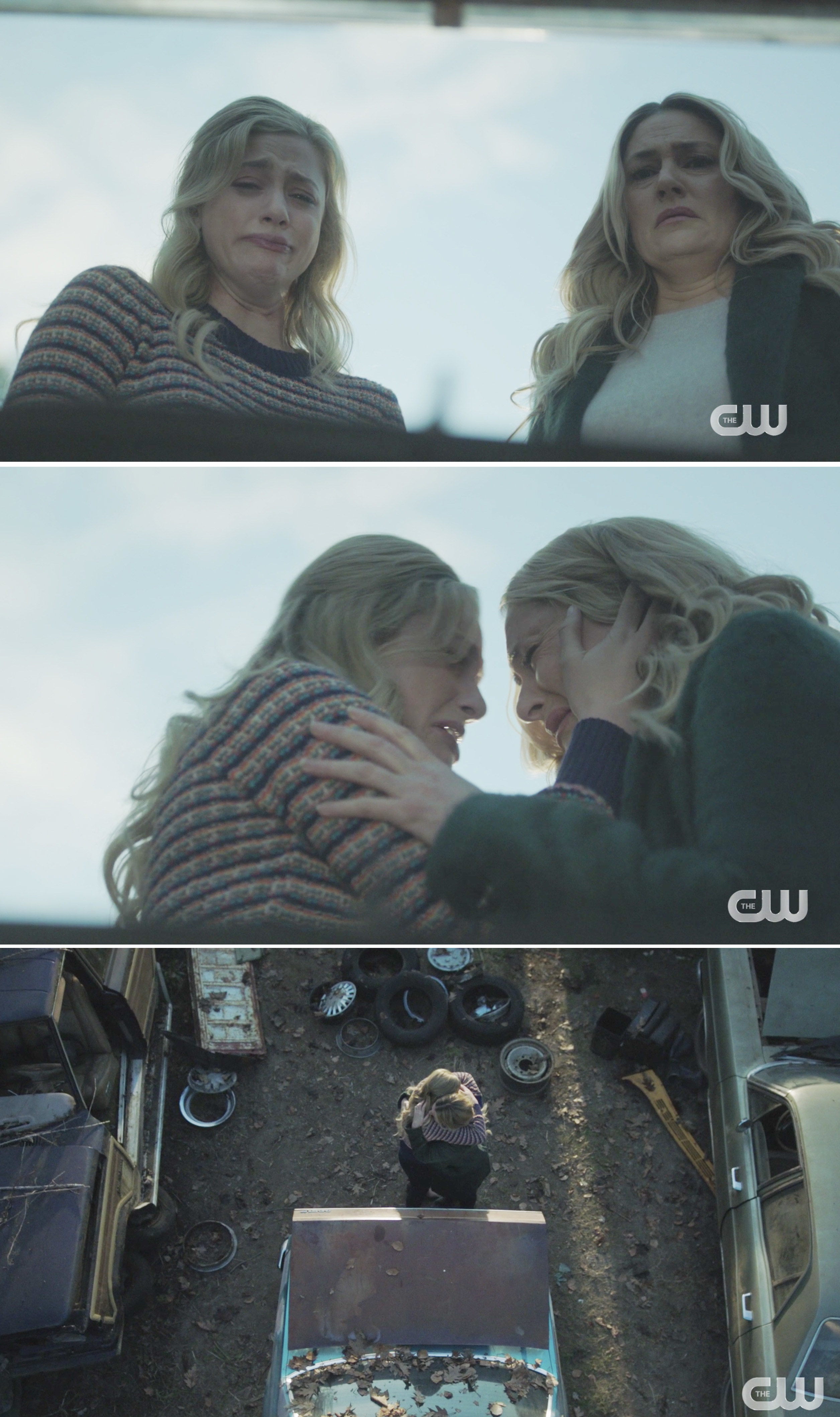 Betty and Alice crying after opening the trunk of a car