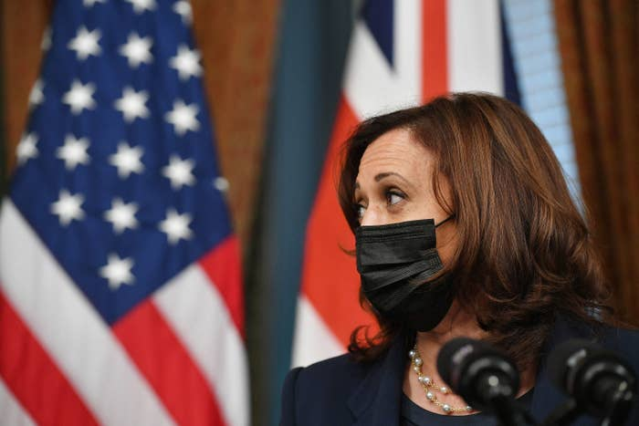 Wearing a face mask, the VP stands in front of a US flag