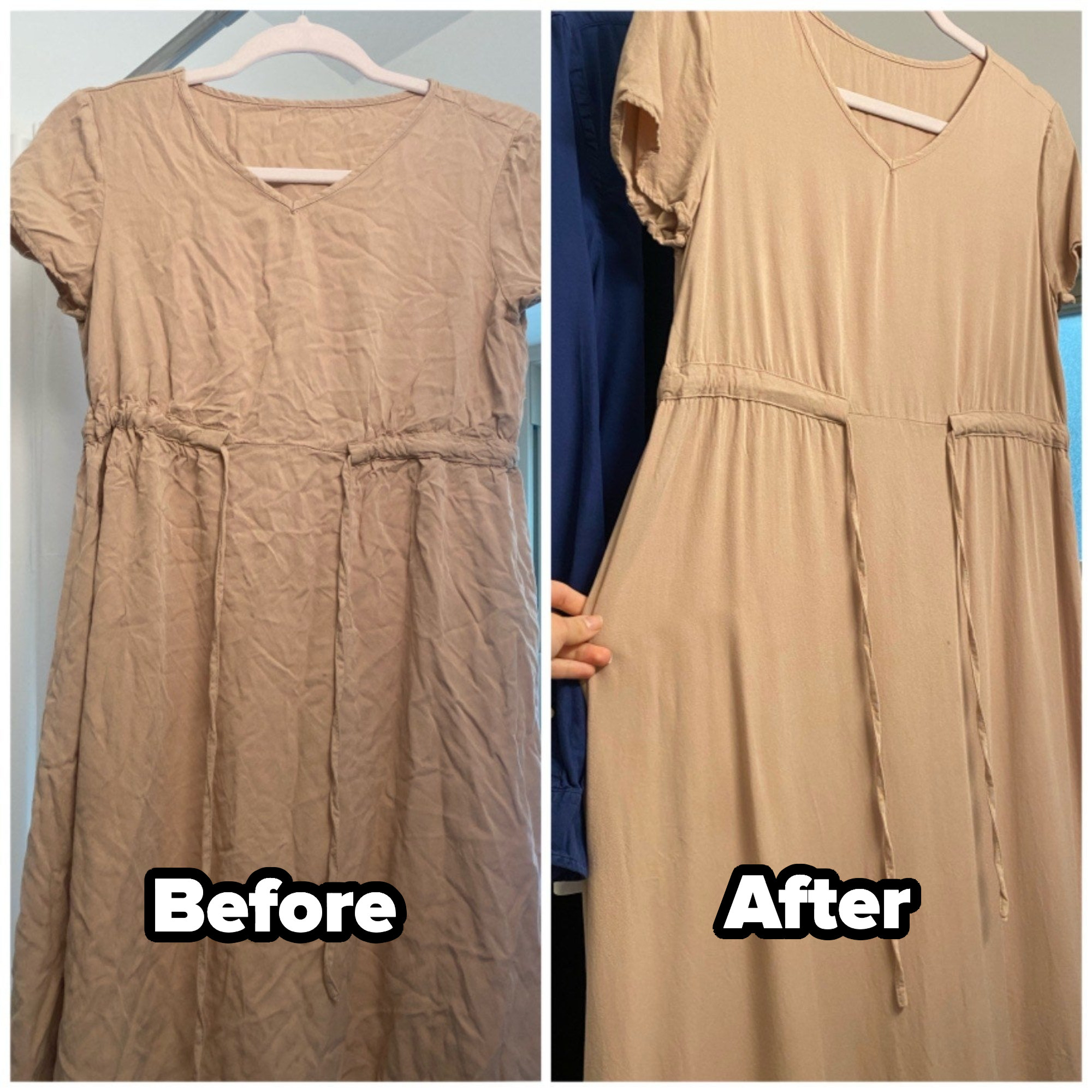 a reviewer image of a wrinkly dress before using the spray, and the same dress after using the spray