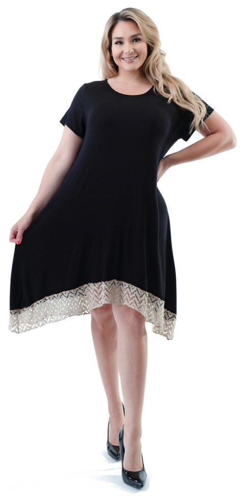 A model wearing a black, short-sleeve, knee-length dress with a lace trim