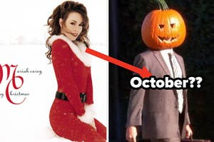 """Mariah Carey wears a Santa suit on the cover of her Christmas album and Dwight Schrute wears a pumpkin on his head in """"The Office"""""""