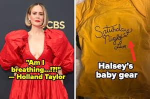 Sarah Paulson side by side Halsey's baby gear