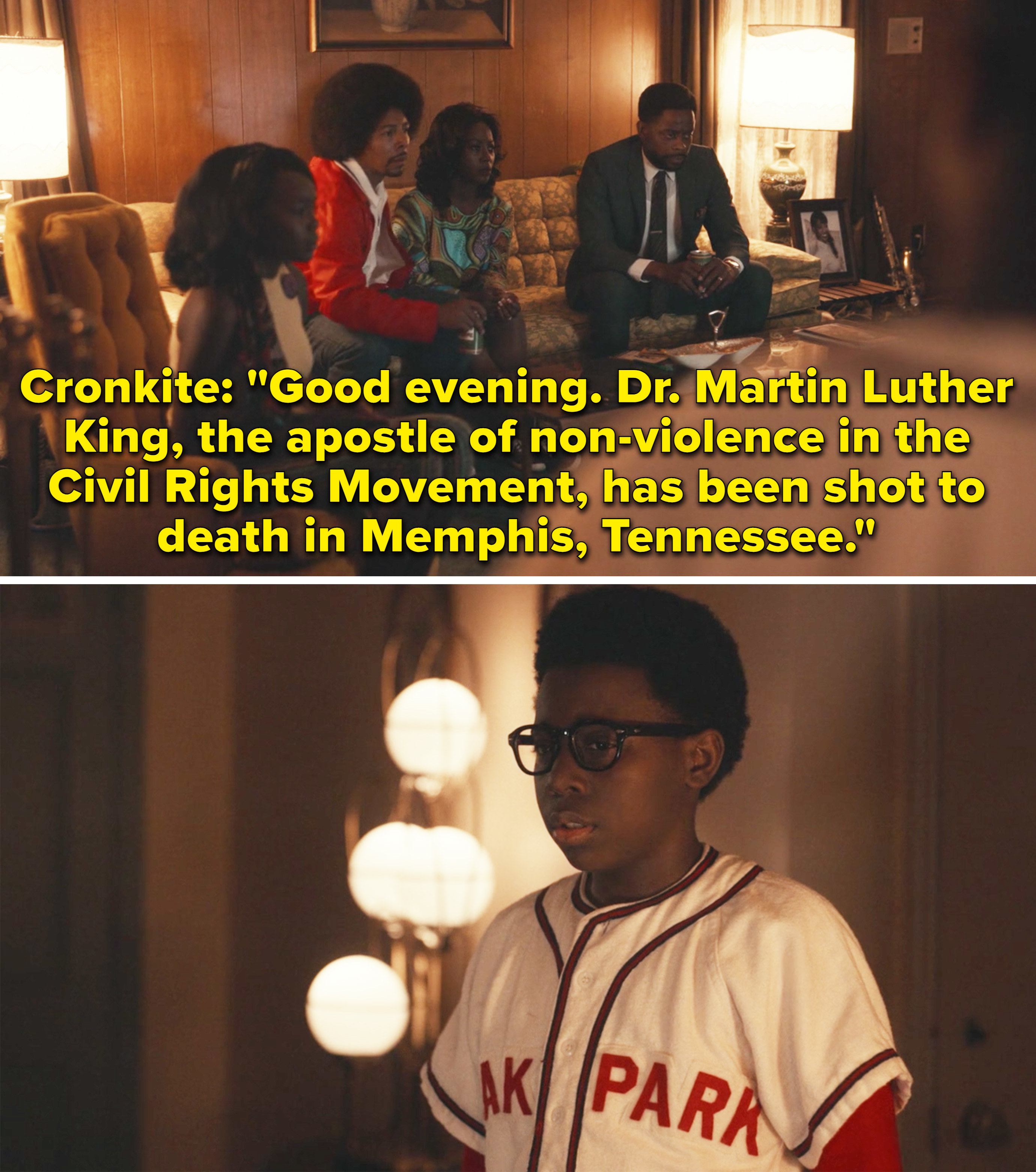 The Williams family learning about Martin Luther King's death on the news