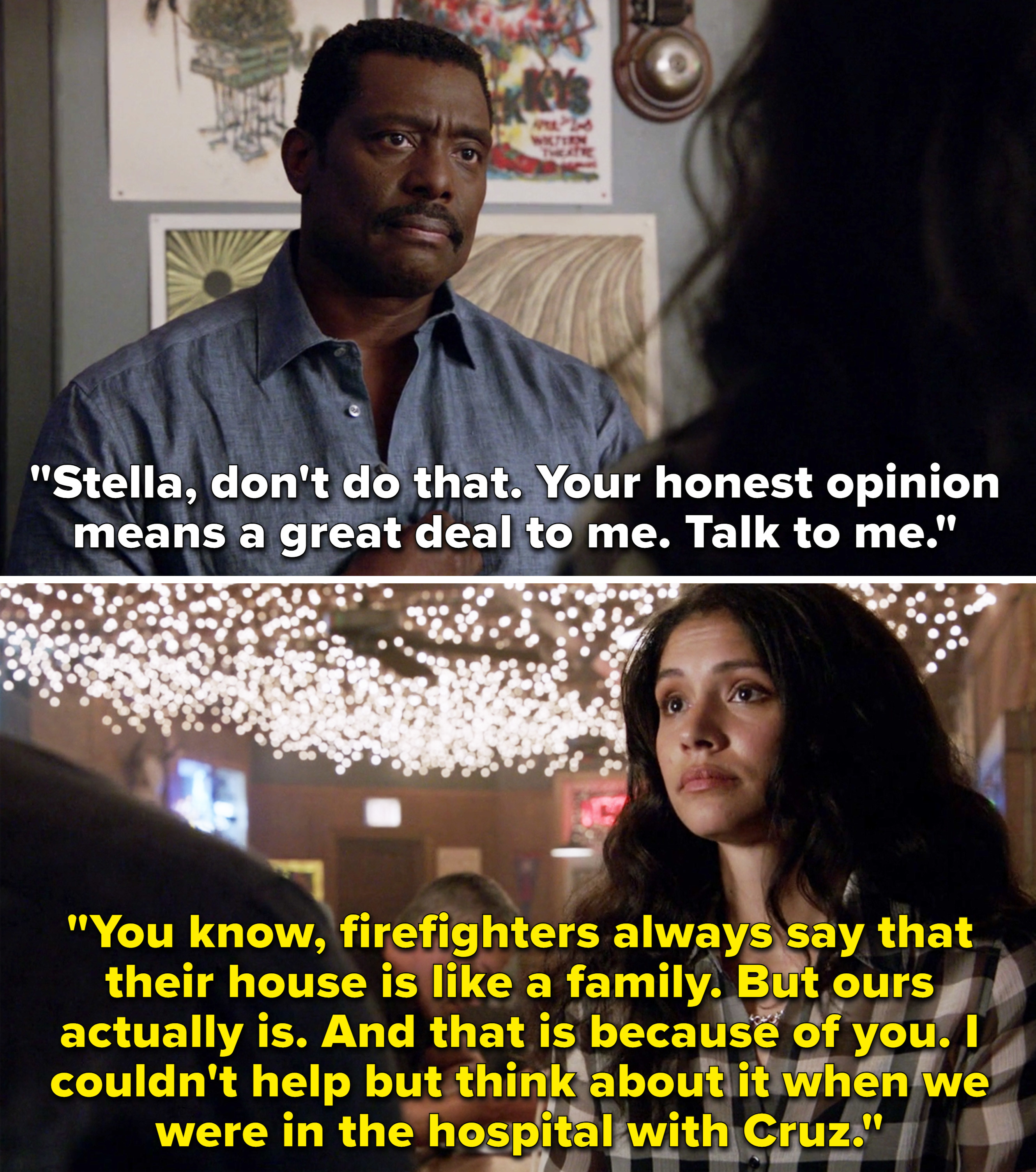 Stella saying that Boden made their firehouse like a family