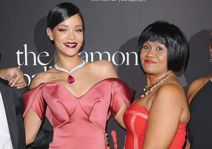 Rihanna and her mom on a red carpet