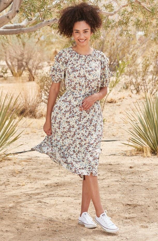 A prairie meadow patterned, ruffled sleeved midi dress