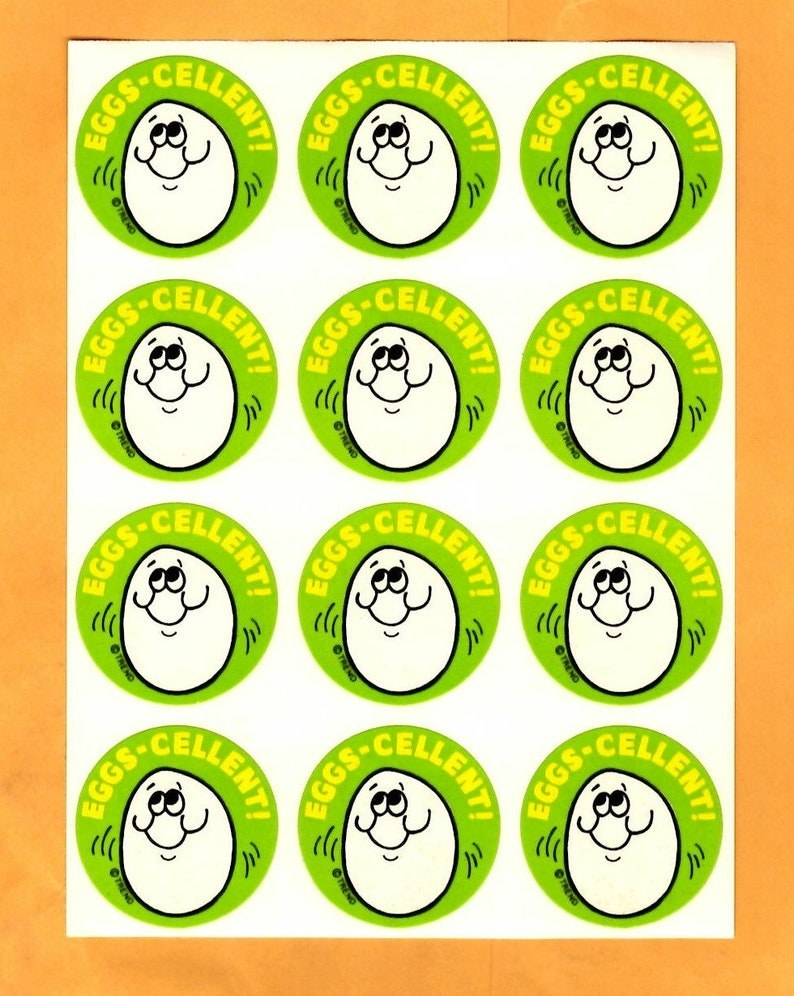 A sheet of Eggs-Cellent! egg smelling stickers