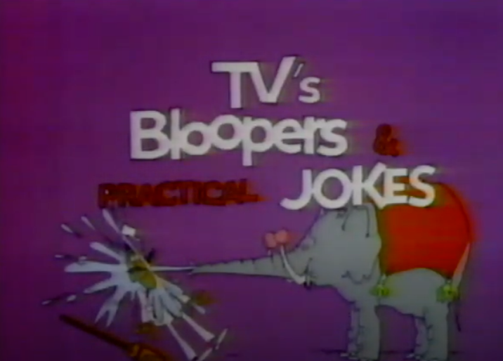 Screen shot of a cartoon elephant spraying a man with TV's Bloopers and Practical Jokes logo over it