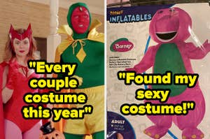 A Barney costume and the text