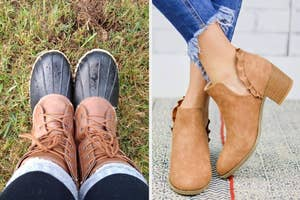 duck boots on the left and ruffle boots on the right