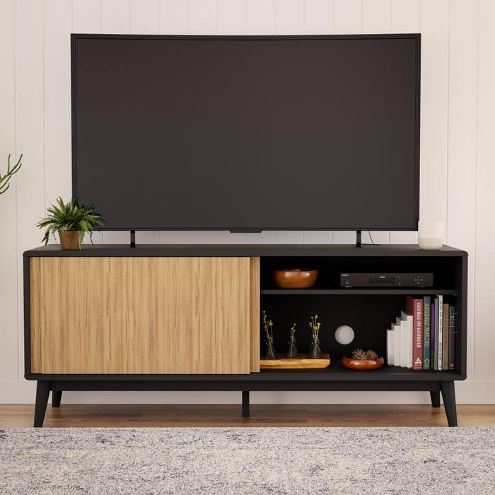 Black and wood TV stand