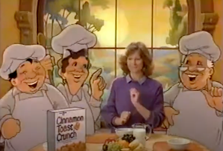 Three cartoon bakers standing next to a human mom