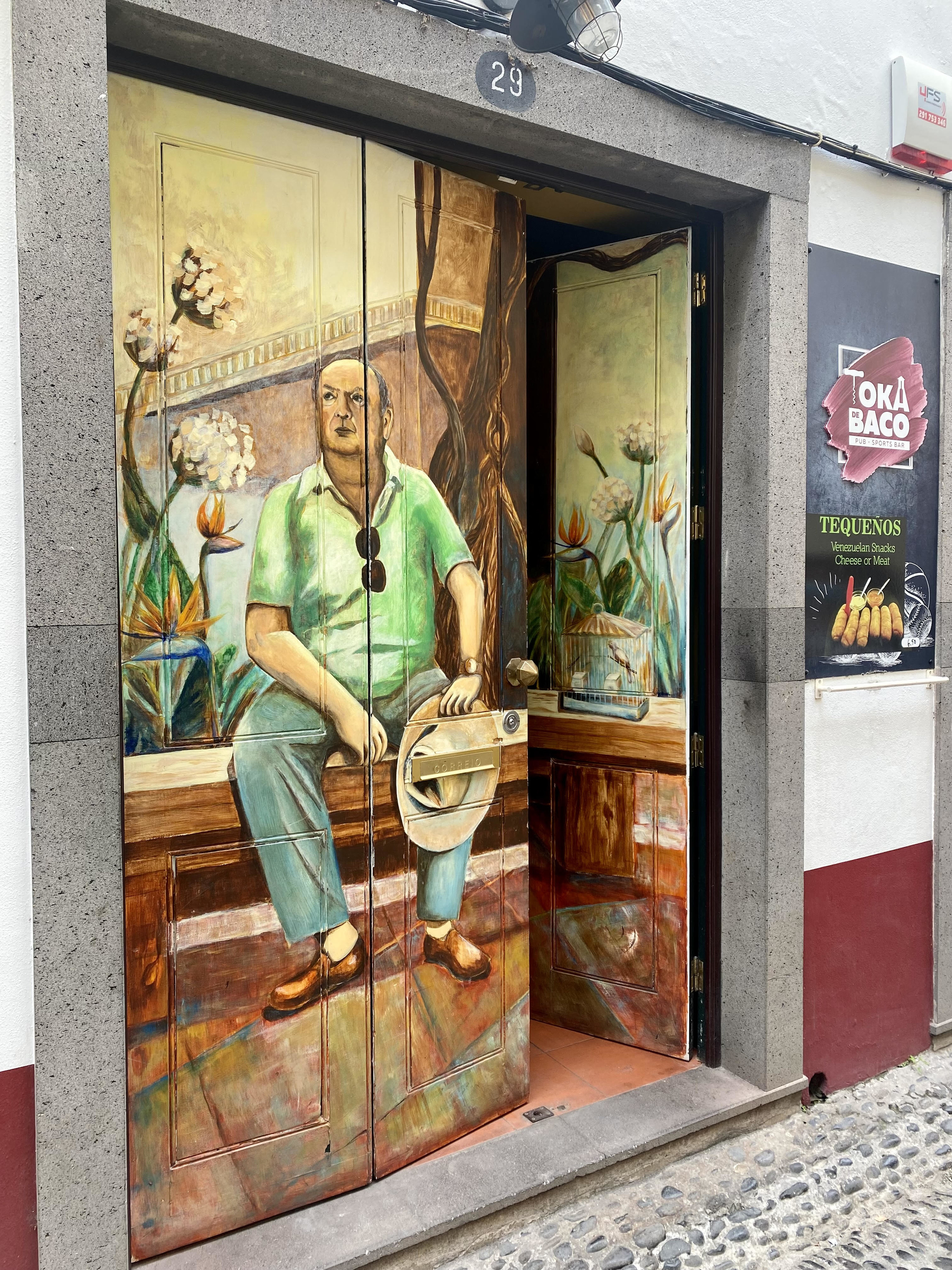 the door with a painted photo