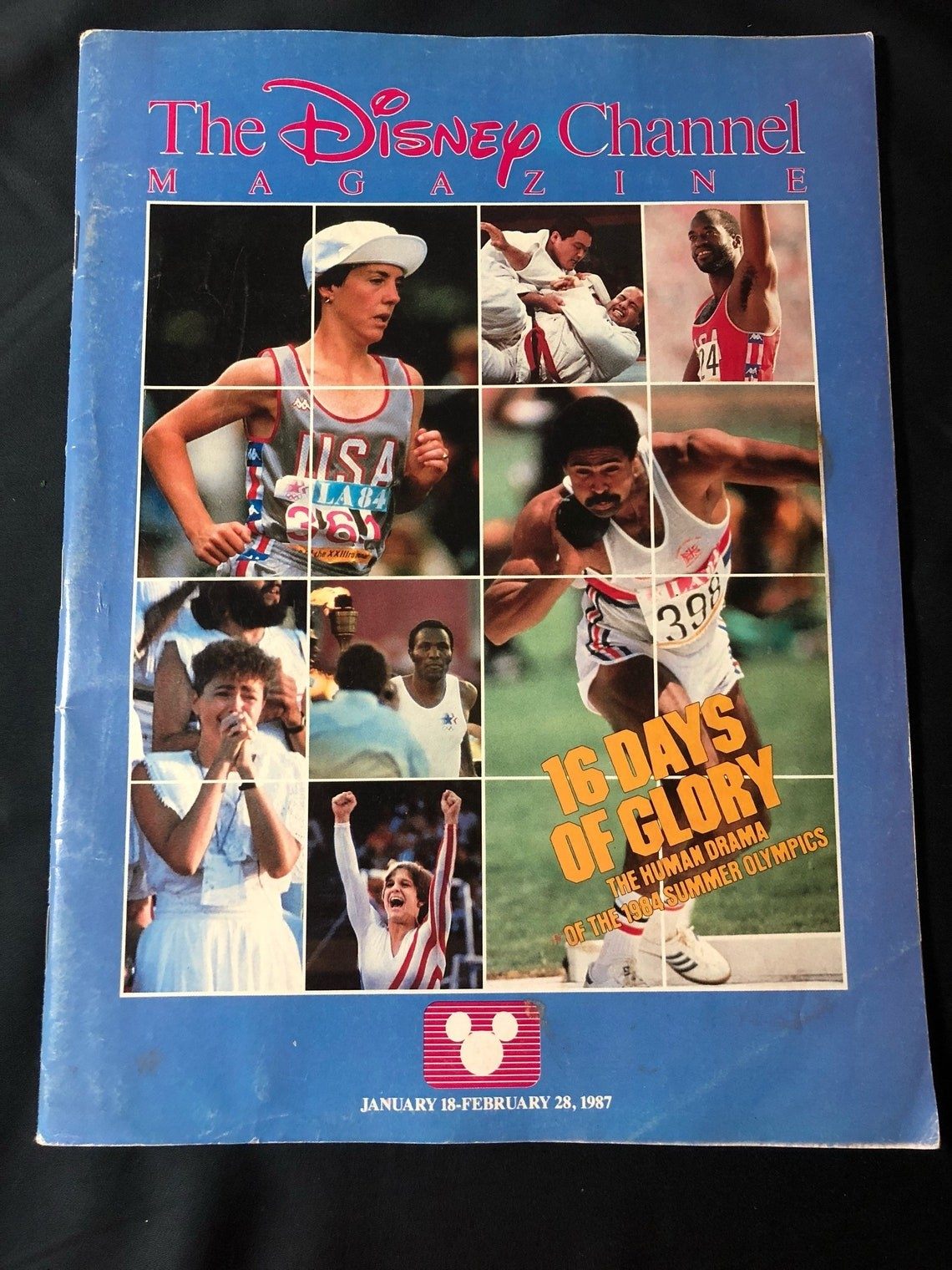Disney Channel magazine featuring photos from the 1984 Olympics