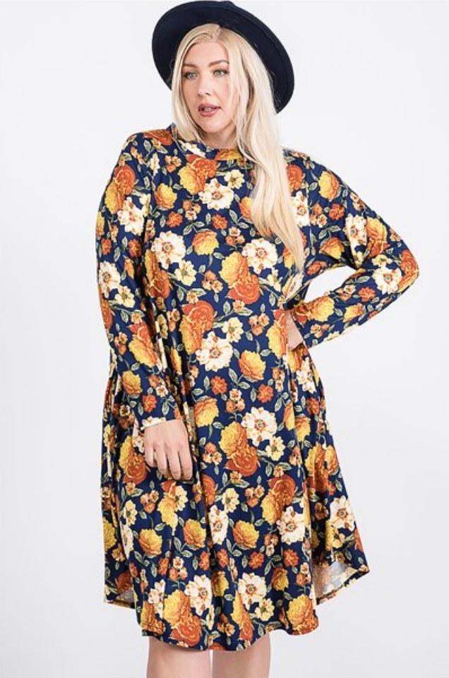 A navy/orange floral, round-neck long-sleeve dress
