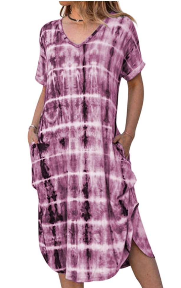 A rose red tie-dye, short-sleeve tunic dress