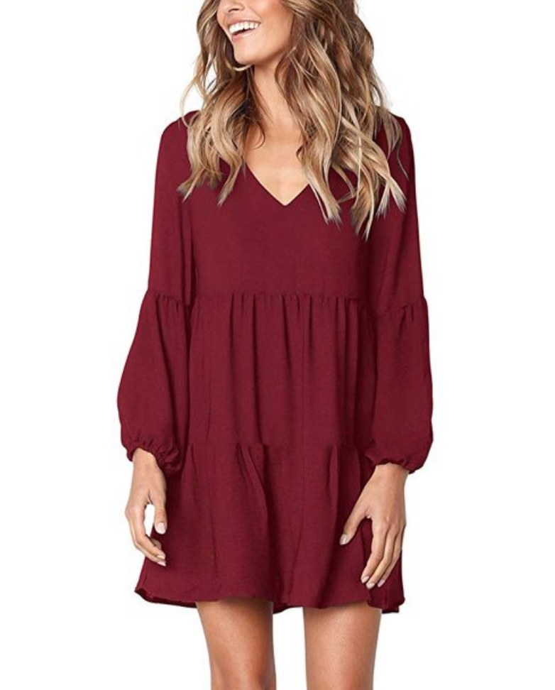 A wine red, long sleeve tunic dress