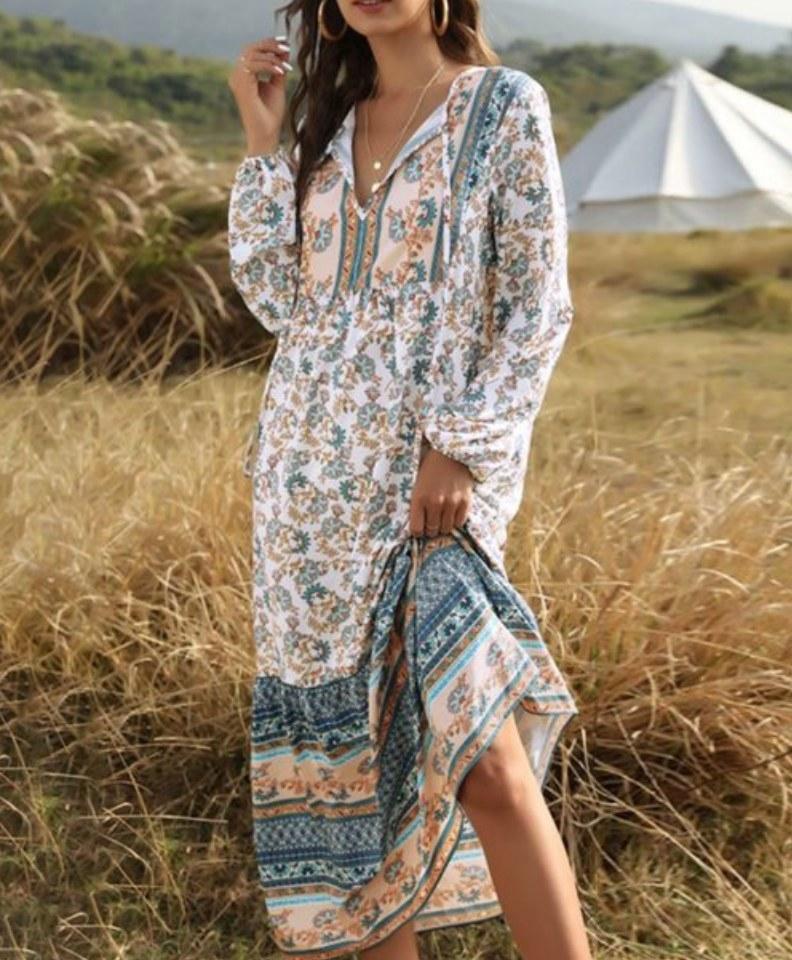A khaki/blue, long-sleeve, bohemian maxi dress