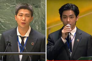 RM and V of BTS speak at the United Nations General Assembly