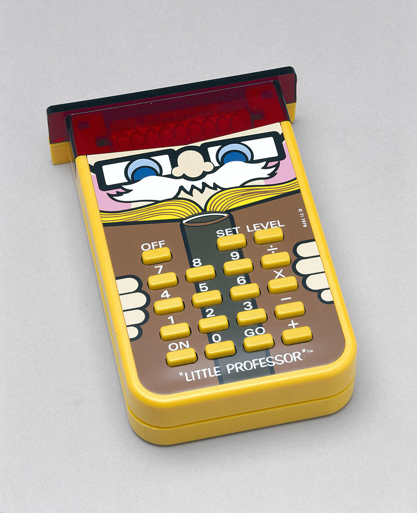 Calculator with a cartoon old professor on it