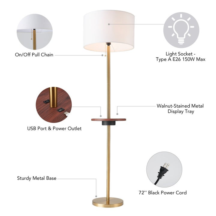 Table lamp with labeled features.