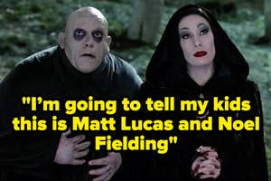Still from The Addams Family showing Morticia and Fester standing outside looking up at something