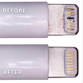 before photo of an Apple charger coated in dirt next to an after photo of the same charger looking much cleaner
