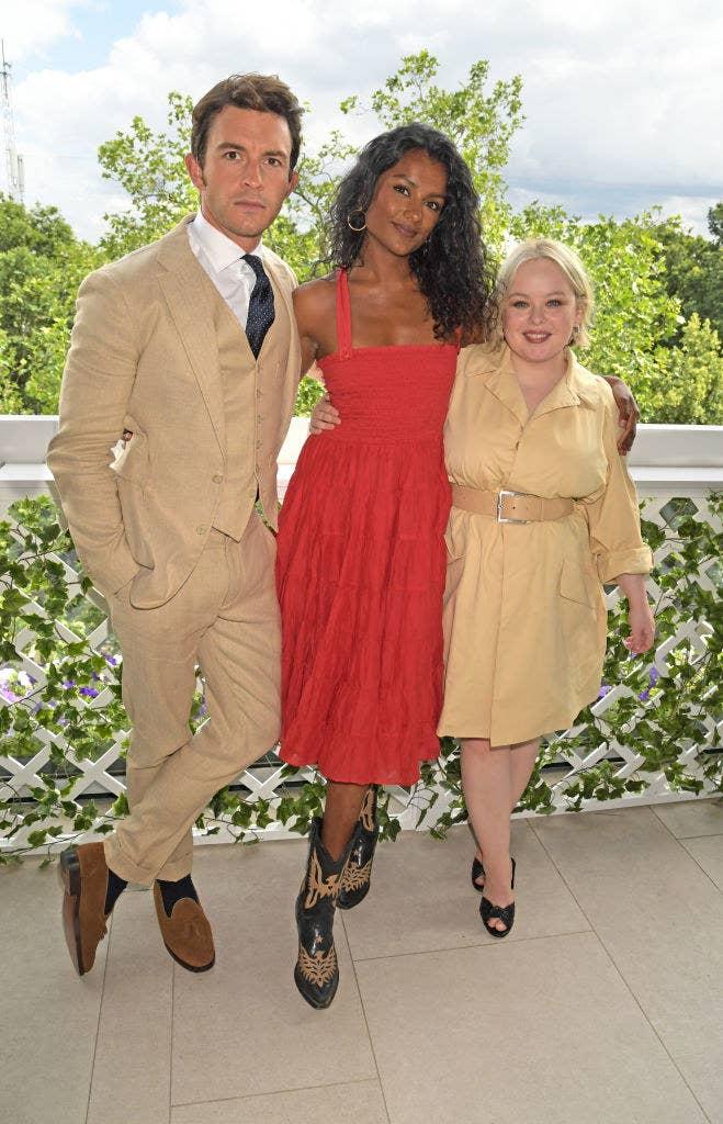 Jonathan, Simone, and Nicola Coughlan posing together at an event
