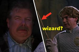 """A muggle is on the left scrunching his face with a professor holding a wand labeled, """"wizard?"""""""