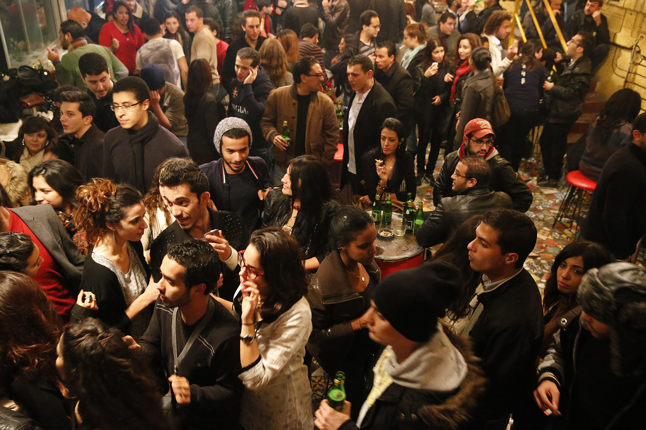 A crowd of people at a party