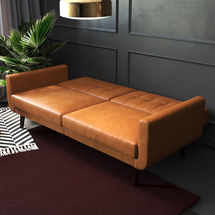 Camel-colored sofa bed