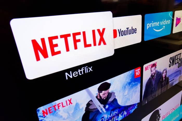 A screen showing Netflix programs