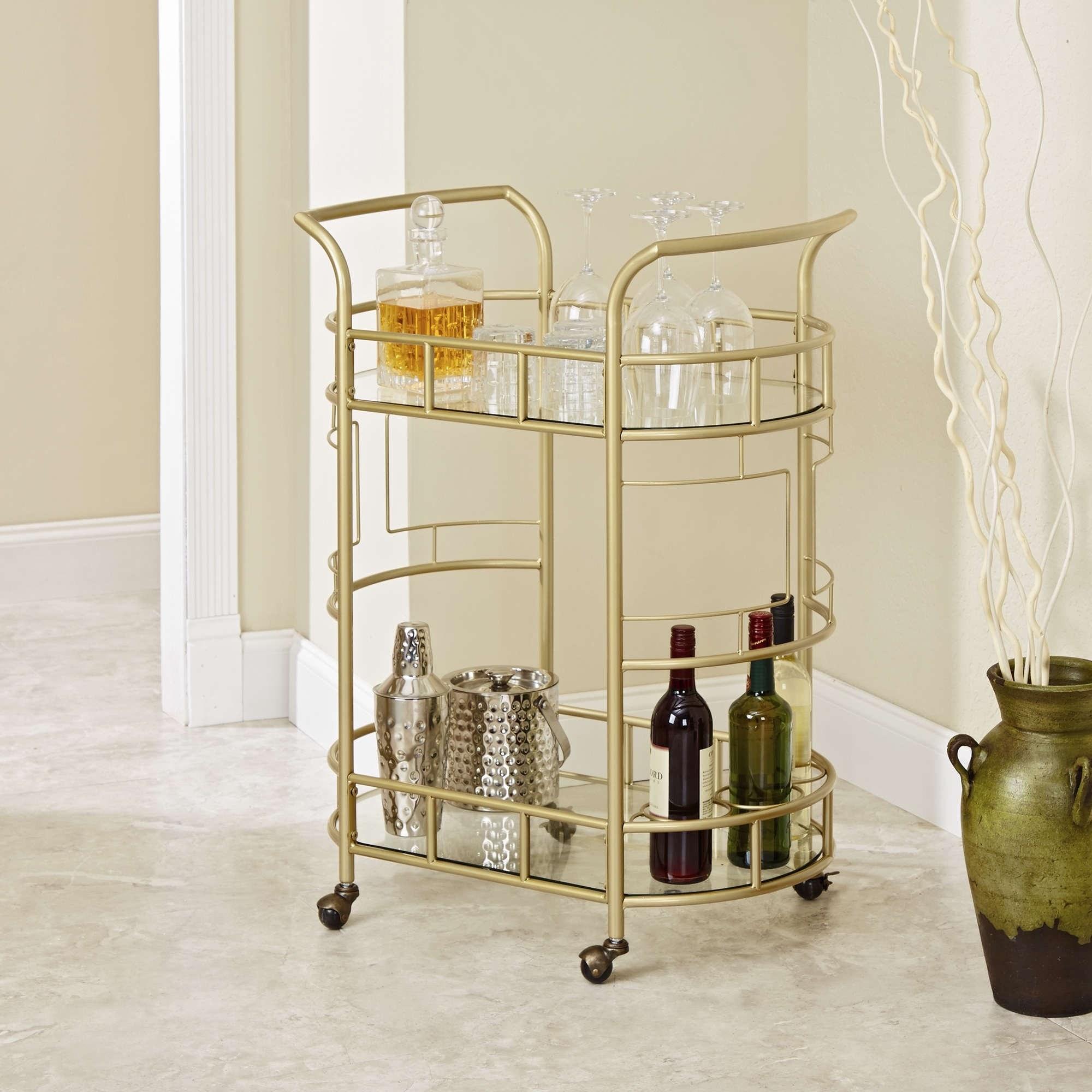Gold bar cart with various bottles