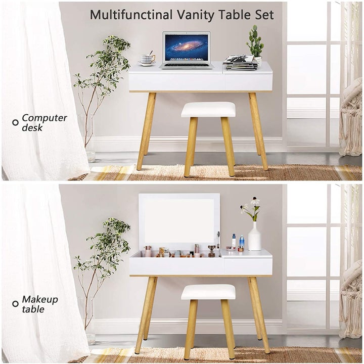 Two pictures of the white vanity set