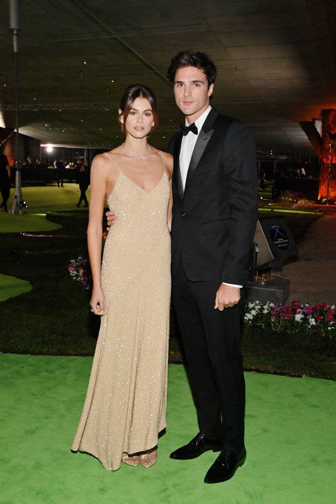 Kaia wore a neutral-toned shimmering floor-length gown and Jacob wore a tuxedo