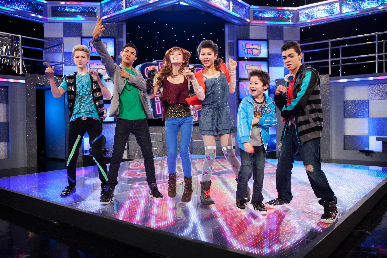 "Still of the major cast members of ""Shake It Up"" on the dance floor set, L-R Kenton Duty, Roshon Fegan, Bella Thorne, Zendaya, Davis Cleveland, Adam Irigoyen"